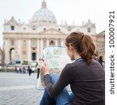 pretty young female tourist... | Shutterstock . vector #100007921