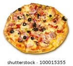 appetizing pizza with bacon... | Shutterstock . vector #100015355