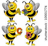 Alphabet Bees Vector. - stock vector