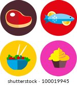 food icons with meat and... | Shutterstock .eps vector #100019945