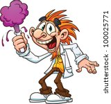 cartoon mad scientist. vector... | Shutterstock .eps vector #100025771