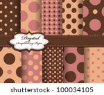 set of polka dot vector paper... | Shutterstock .eps vector #100034105