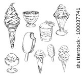set  sketches of ice cream | Shutterstock .eps vector #100037741