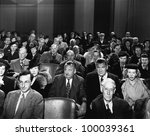 attentive audience in theater