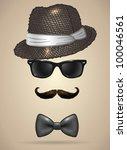 vintage silhouette of fedora... | Shutterstock .eps vector #100046561