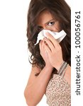 girl with snotty, runny nose and handkerchief, white background - stock photo