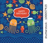 cute greeting card with funny... | Shutterstock .eps vector #100057925
