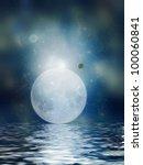moon reflection in the ocean in ...   Shutterstock . vector #100060841