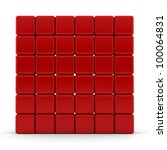 red 3d rounded cubes isolated... | Shutterstock . vector #100064831