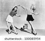 Stock photo two women dancing outside 100085954