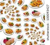 abundance of chicken meal swirl ... | Shutterstock . vector #100093427