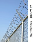 Chain link Security fence with razor wire - stock photo