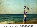 happy father and son on the... | Shutterstock . vector #100096331