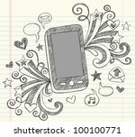 hand drawn mobile cell phone... | Shutterstock .eps vector #100100771