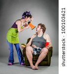 Quarrel of the husband with the wife - stock photo