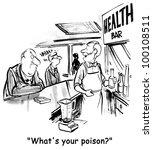 a man asks a patron at a juice... | Shutterstock . vector #100108511