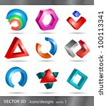set of 3d icons or abstract... | Shutterstock .eps vector #100113341