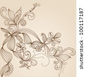 floral pattern hand drawing... | Shutterstock . vector #100117187