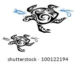 turtle in ocean water in tribal ...
