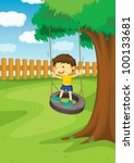 illustration of a boy on a swing | Shutterstock .eps vector #100133681