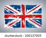 grunge uk national flag. vector ... | Shutterstock .eps vector #100137005