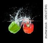 Fresh  Paprika Splash In Water...