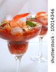 Cocktail Shrimp with Avocado Salsa - stock photo