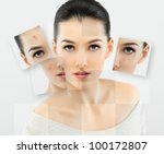 a beauty girl on the grey... | Shutterstock . vector #100172807