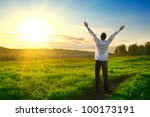 happy man with hands up on... | Shutterstock . vector #100173191