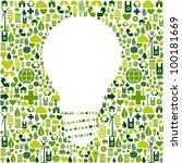 Ideas about eco friendly actions. Green icons in light bulb symbol shape background. Vector file available. - stock vector