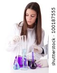 Young scientist working at laboratory - stock photo