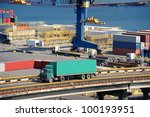truck carries container. port