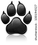 black animal paw print isolated ... | Shutterstock .eps vector #100194527