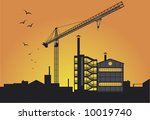 a factory view on the sunset | Shutterstock .eps vector #10019740