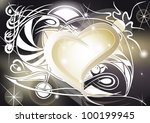 golden heart with tribal...