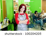 happy hair salon owner or... | Shutterstock . vector #100204205