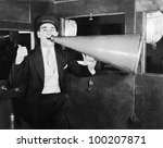 man with huge megaphone | Shutterstock . vector #100207871