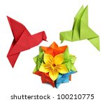 origami hummingbird over flower ... | Shutterstock . vector #100210775