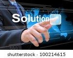 businessman hand pushing... | Shutterstock . vector #100214615