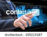 businessman hand pushing... | Shutterstock . vector #100215287