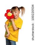 portrait of happy little girl...   Shutterstock . vector #100220534