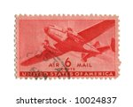 Old postage stamp from USA six cent - stock photo