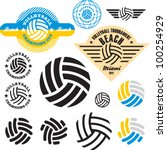 volleyball sign icon set....