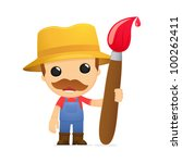 funny cartoon farmer in various ... | Shutterstock .eps vector #100262411