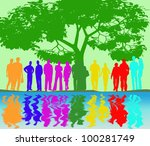 group of couples in the park | Shutterstock . vector #100281749