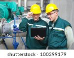industrial workers with... | Shutterstock . vector #100299179