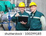 industrial workers with... | Shutterstock . vector #100299185