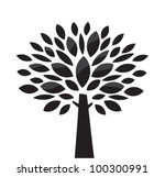 stylized vector tree. black and ...
