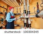 maintenance repairman engineer... | Shutterstock . vector #100304345