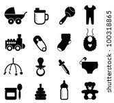 baby objects icon set in black | Shutterstock .eps vector #100318865